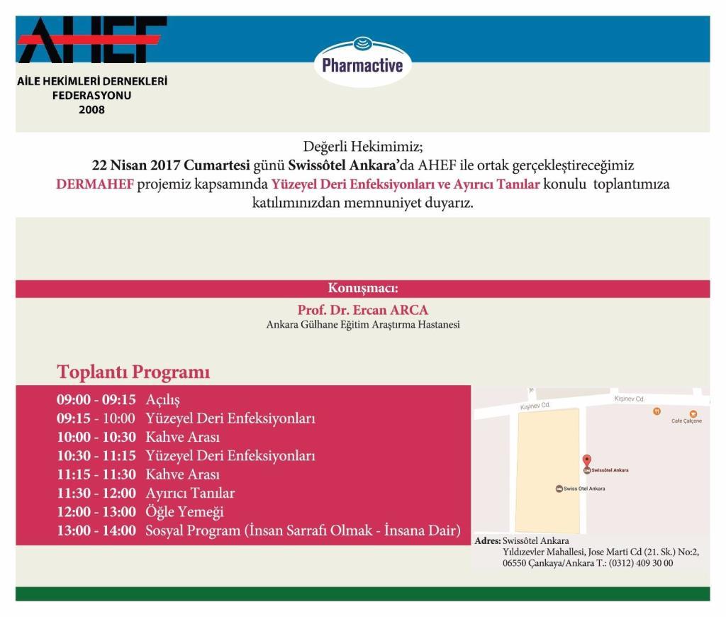 DERMAHEF Ankara Eğitim Toplantısı Bilimsel Programı Açıklandı